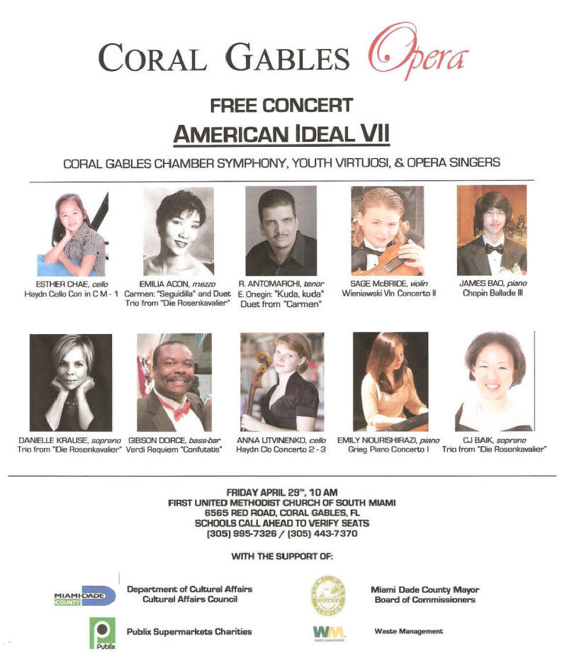 American Ideal VII flyer 2011 coral gables opera